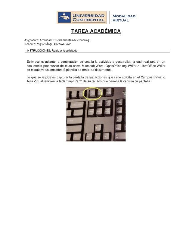TAREA ACADÉMICA Asignatura: Actividad 1: Herramientas de elearning Docente: Miguel Ángel Córdova Solís INSTRUCCIONES: Real...