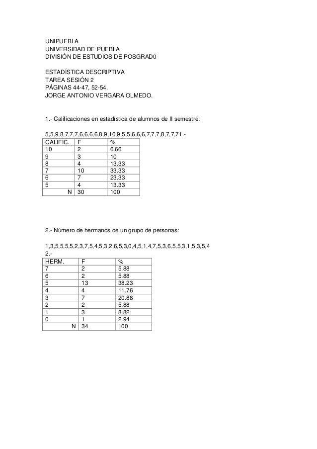 UNIPUEBLAUNIVERSIDAD DE PUEBLADIVISIÓN DE ESTUDIOS DE POSGRAD0ESTADÍSTICA DESCRIPTIVATAREA SESIÓN 2PÁGINAS 44-47, 52-54.JO...