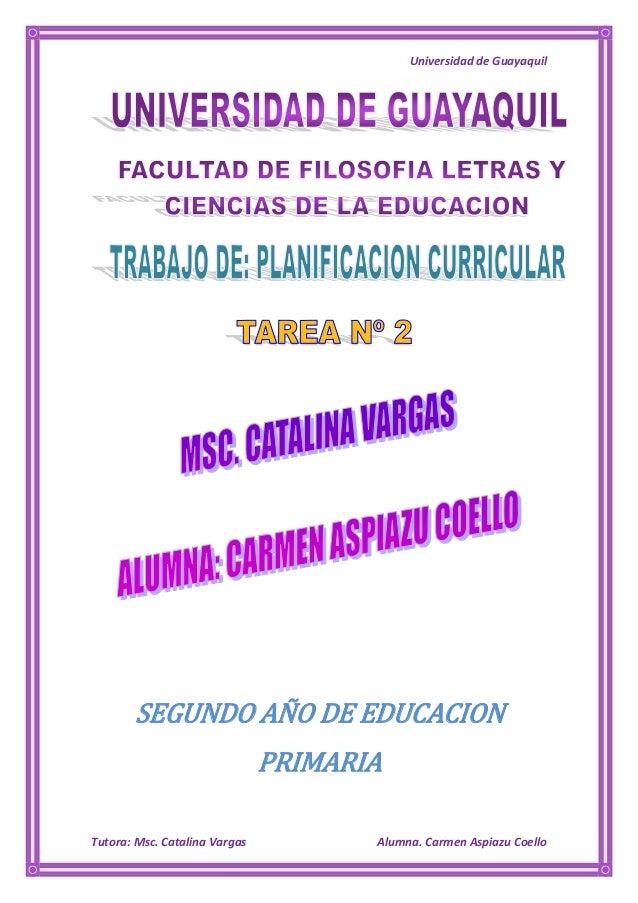 Universidad de Guayaquil       SEGUNDO AÑO DE EDUCACION                               PRIMARIATutora: Msc. Catalina Vargas...
