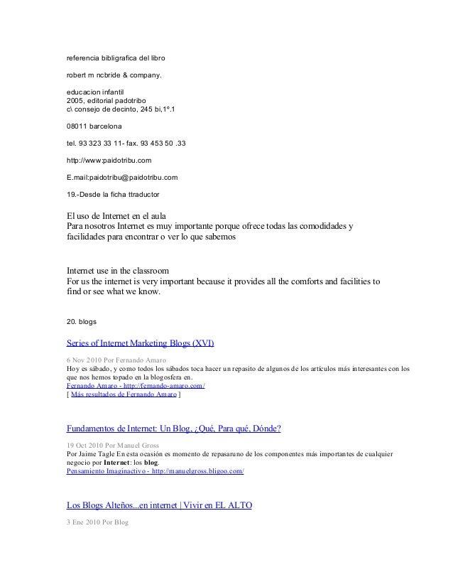 referencia bibligrafica del libro robert m ncbride & company. educacion infantil 2005, editorial padotribo c consejo de de...