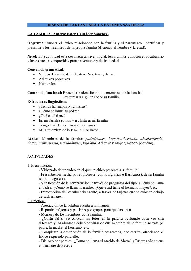 DISEÑO DE TAREAS PARA LA ENESÑEANZA DE eL2LA FAMILIA (Autora: Ester Hernádez Sánchez)Objetivo: Conocer el léxico relaciona...