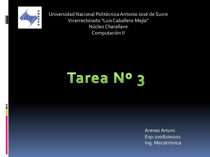 """Universidad Nacional Politécnica Antonio José de Sucre         Vicerrectorado """"Luis Caballero Mejía""""                  Núcl..."""