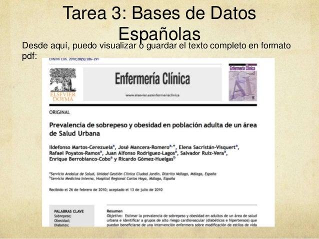 Tarea 3: Bases de Datos EspañolasDesde aquí, puedo visualizar o guardar el texto completo en formato pdf: