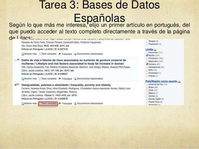 Tarea 3: Bases de Datos EspañolasSegún lo que más me interesa, elijo un primer artículo en portugués, del que puedo accede...
