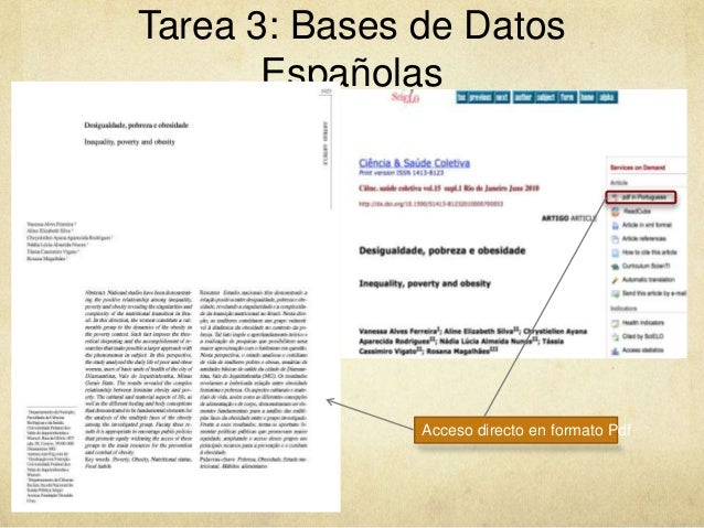 Tarea 3: Bases de Datos Españolas Acceso directo en formato Pdf