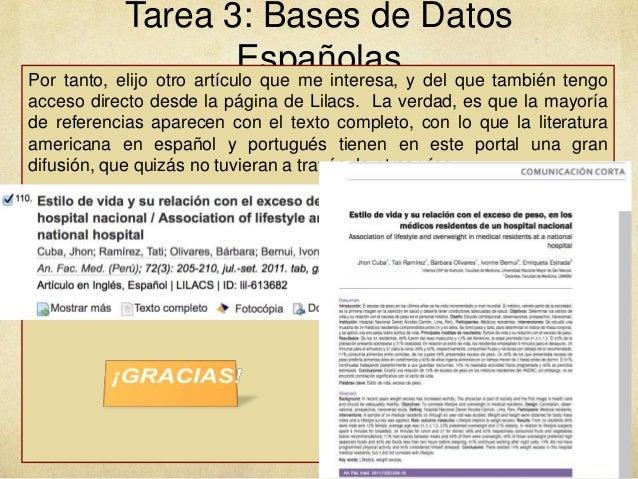 Tarea 3: Bases de Datos EspañolasPor tanto, elijo otro artículo que me interesa, y del que también tengo acceso directo de...