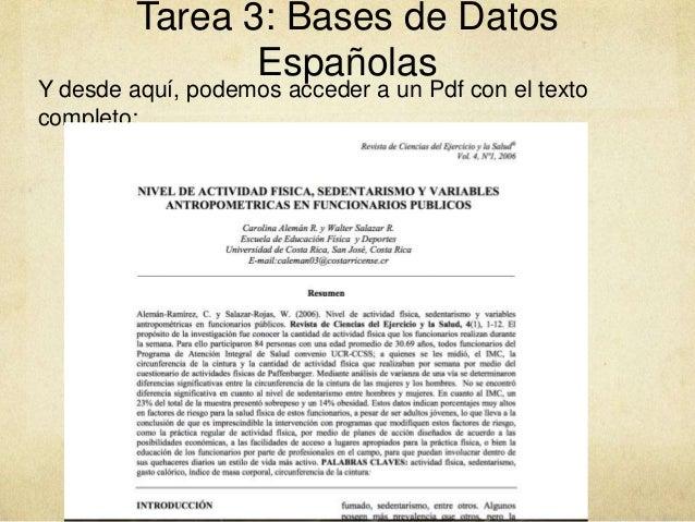 Tarea 3: Bases de Datos Españolas Y desde aquí, podemos acceder a un Pdf con el texto completo: