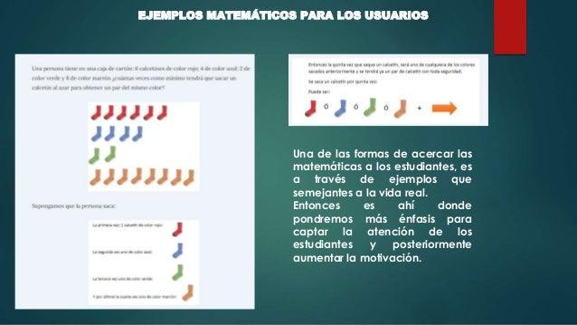 EJEMPLOS MATEMÁTICOS PARA LOS USUARIOS Una de las formas de acercar las matemáticas a los estudiantes, es a través de ejem...