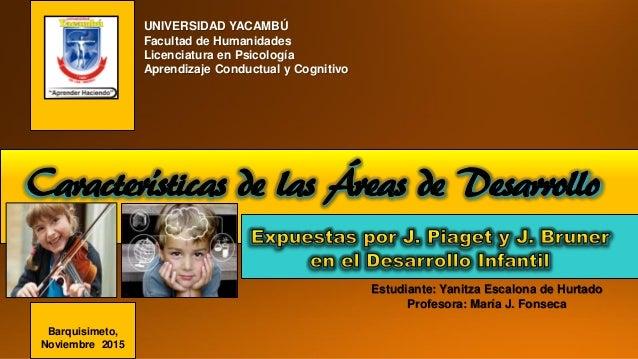 Características de las Áreas de Desarrollo Estudiante: Yanitza Escalona de Hurtado Profesora: María J. Fonseca UNIVERSIDAD...