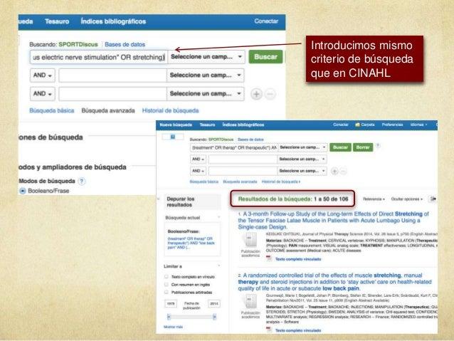 Introducimos mismo criterio de búsqueda que en CINAHL