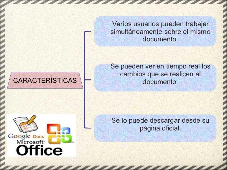 CARACTERÍSTICAS <ul><ul><li>Varios usuarios pueden trabajar simultáneamente sobre el mismo documento. </li></ul></ul><ul><...