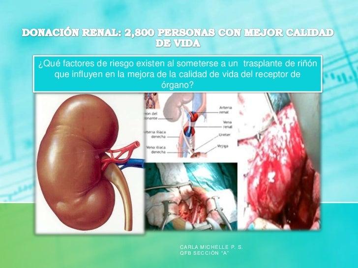 ¿Qué factores de riesgo existen al someterse a un trasplante de riñón   que influyen en la mejora de la calidad de vida de...