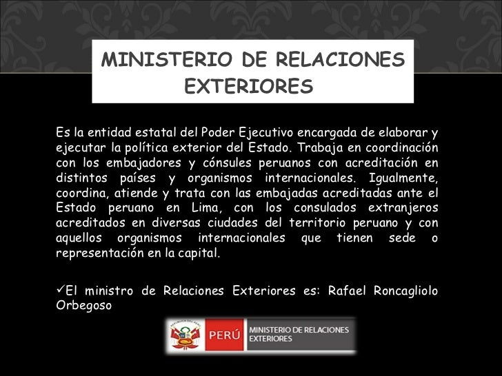 Ministerios del per for Ministerio de relaciones interiores espana