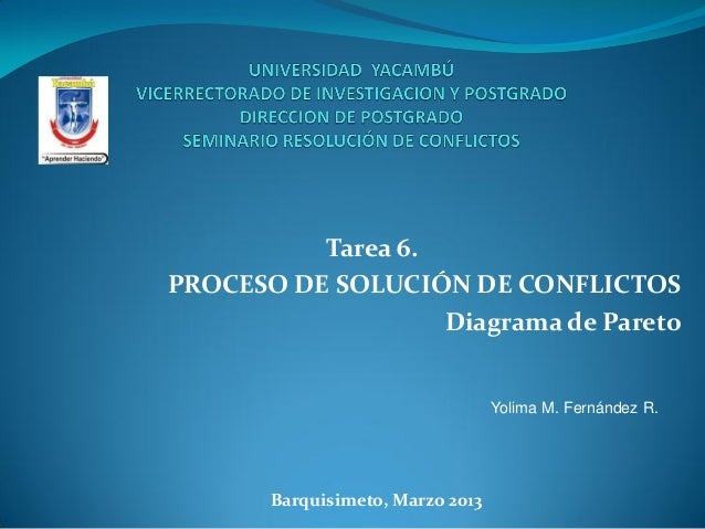 Tarea 6.PROCESO DE SOLUCIÓN DE CONFLICTOS                   Diagrama de Pareto                                  Yolima M. ...