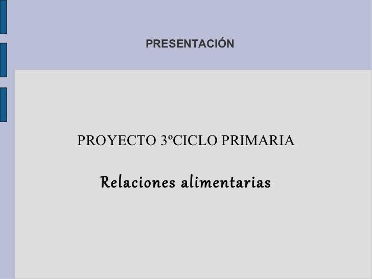 PRESENTACIÓN PROYECTO 3ºCICLO PRIMARIA Relaciones alimentarias