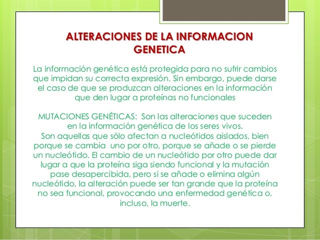 ALTERACIONES DE LA INFORMACION GENETICA La información genética está protegida para no sufrir cambios que impidan su corre...