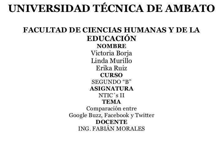 UNIVERSIDAD TÉCNICA DE AMBATO  FACULTAD DE CIENCIAS HUMANAS Y DE LA               EDUCACIÓN                     NOMBRE    ...