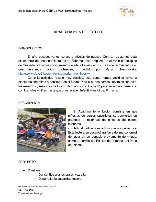 """BibliotecaescolardelCEIP""""LaPaz""""Torremolinos,Málaga     APADRINAMIENTOLECTOR    INTRODUCCIÓN:  ..."""