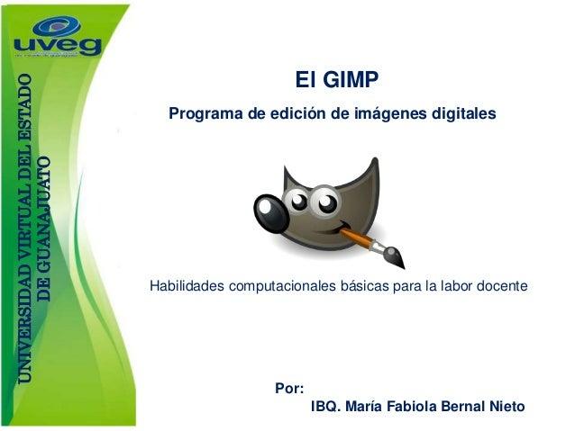 El GIMP Programa de edición de imágenes digitales Por: IBQ. María Fabiola Bernal Nieto Habilidades computacionales básicas...