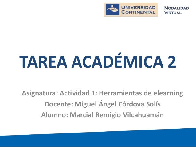 TAREA ACADÉMICA 2 Asignatura: Actividad 1: Herramientas de elearning Docente: Miguel Ángel Córdova Solís Alumno: Marcial R...