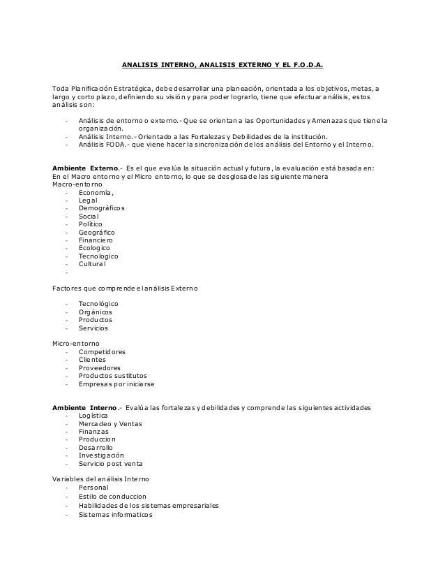 Analisis Interno Analisis Externo Y El Foda