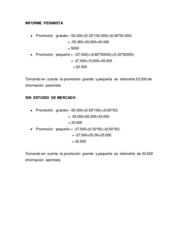 INFORME PESIMISTA      Promoción grande= -55.000+(0.20*100.000)+(0.80*50.000)                        = -55.000+20.000+40.0...