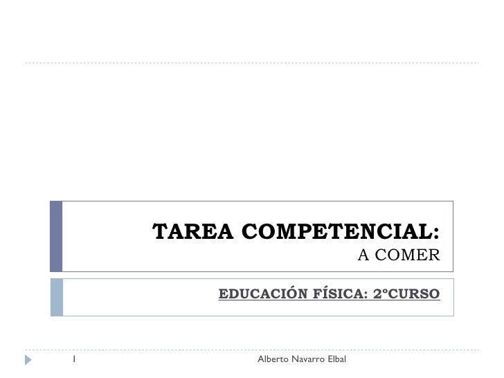 TAREA COMPETENCIAL: A COMER EDUCACIÓN FÍSICA: 2ºCURSO Alberto Navarro Elbal