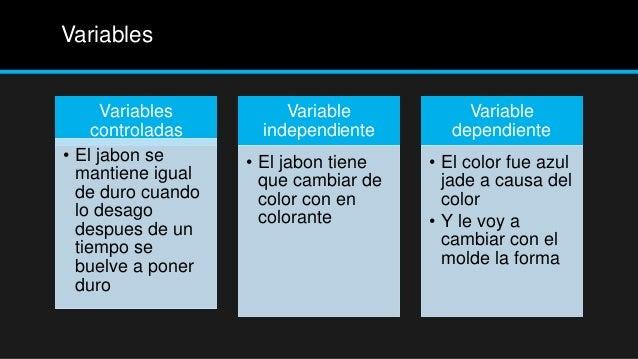 Variables      Variables        Variable            Variable     controladas    independiente        dependiente• El jabon...