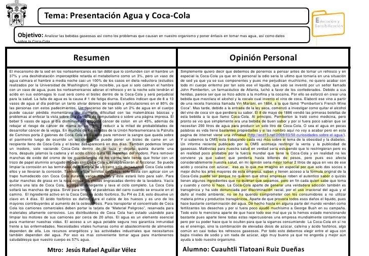 Tema: Presentación Agua y Coca-Cola <br />Objetivo: Analizar las bebidas gaseosas así como los problemas que causan en nue...