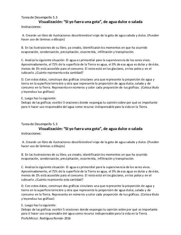 "ProfaMirza I. RodríguezRomán-2016 Tarea de Desempeño 5.3 Visualización: ""SI yo fuera una gota"", de agua dulce o salada Ins..."