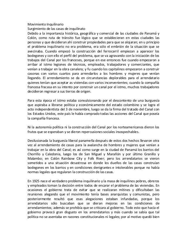 Movimiento InquilinarioSurgimiento de las casas de inquilinatoDebido a la importancia histórica, geográfica y comercial de...