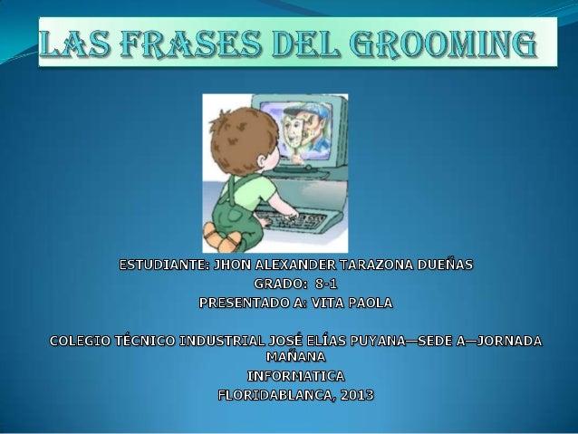 ¿Qué ES EL GROOMING?  El grooming hace referencia a una serie de conductas y acciones de liberadamente emprendidas por un...