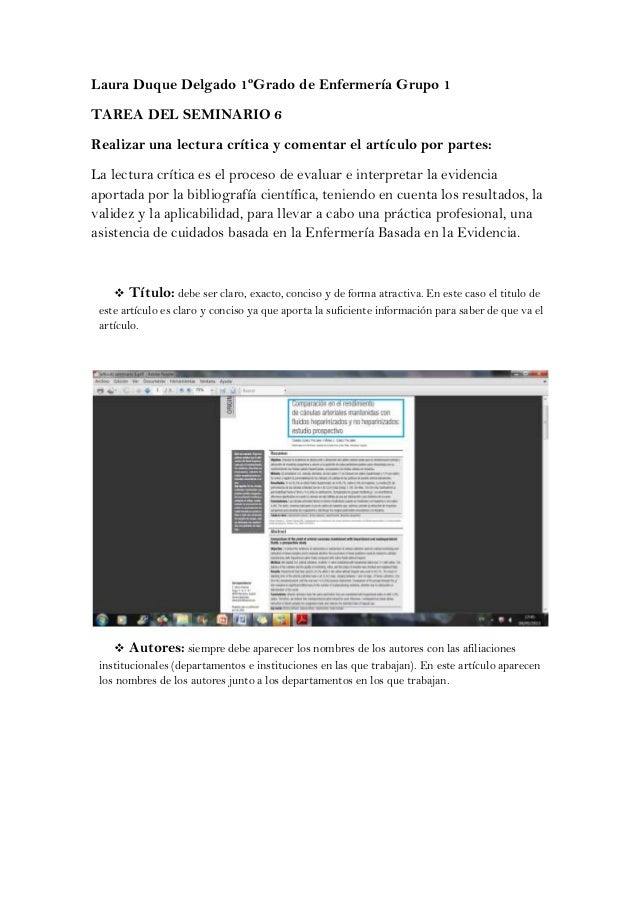 Laura Duque Delgado 1ºGrado de Enfermería Grupo 1TAREA DEL SEMINARIO 6Realizar una lectura crítica y comentar el artículo ...