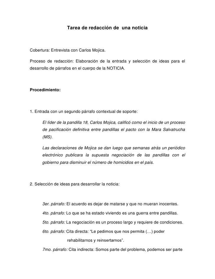 Tarea de redacción de una noticiaCobertura: Entrevista con Carlos Mojica.Proceso de redacción: Elaboración de la entrada y...