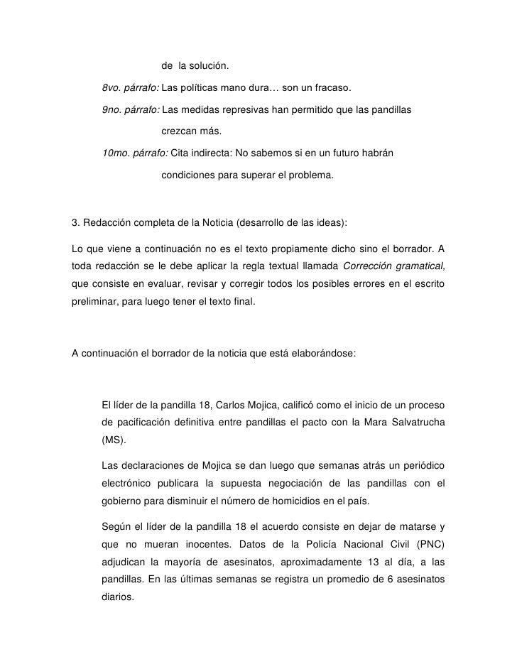 de la solución.       8vo. párrafo: Las políticas mano dura… son un fracaso.       9no. párrafo: Las medidas represivas ha...