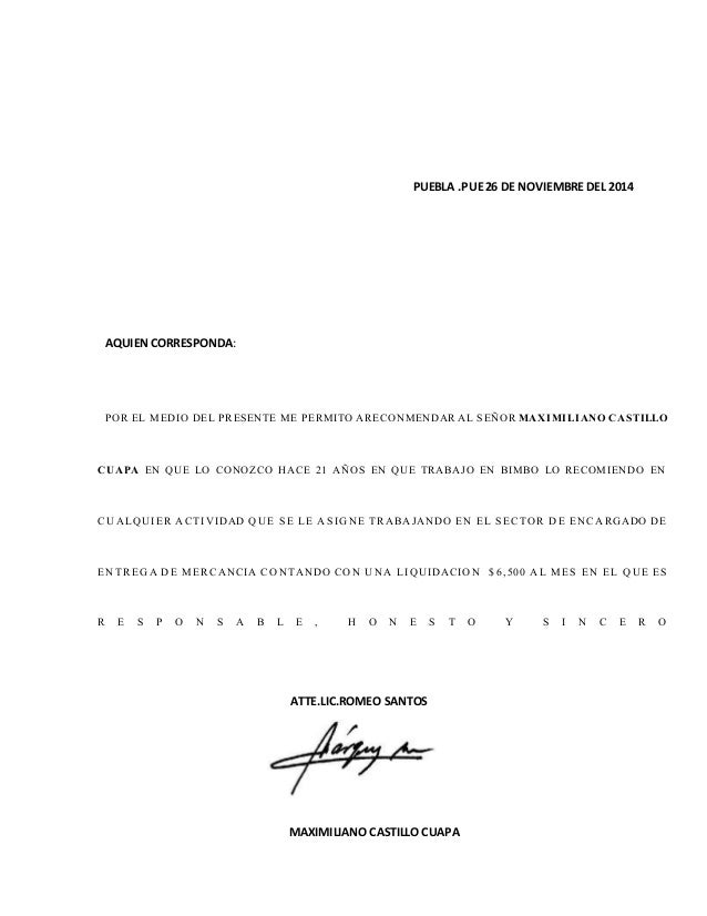carta de recomendacion personales ejemplos