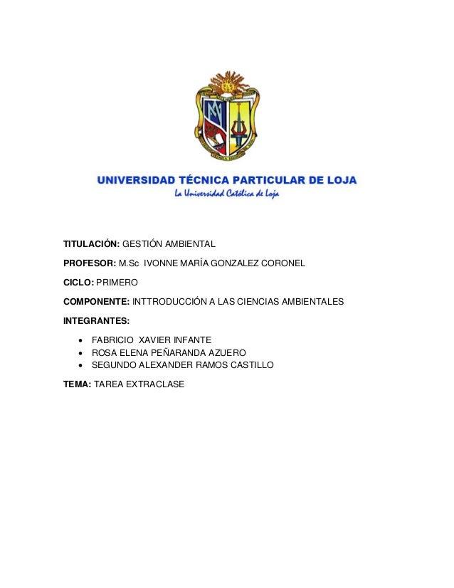 TITULACIÓN: GESTIÓN AMBIENTAL PROFESOR: M.Sc IVONNE MARÍA GONZALEZ CORONEL CICLO: PRIMERO COMPONENTE: INTTRODUCCIÓN A LAS ...