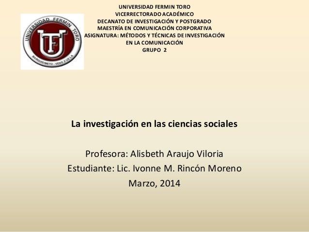 UNIVERSIDAD FERMIN TORO VICERRECTORADO ACADÉMICO DECANATO DE INVESTIGACIÓN Y POSTGRADO MAESTRÍA EN COMUNICACIÓN CORPORATIV...