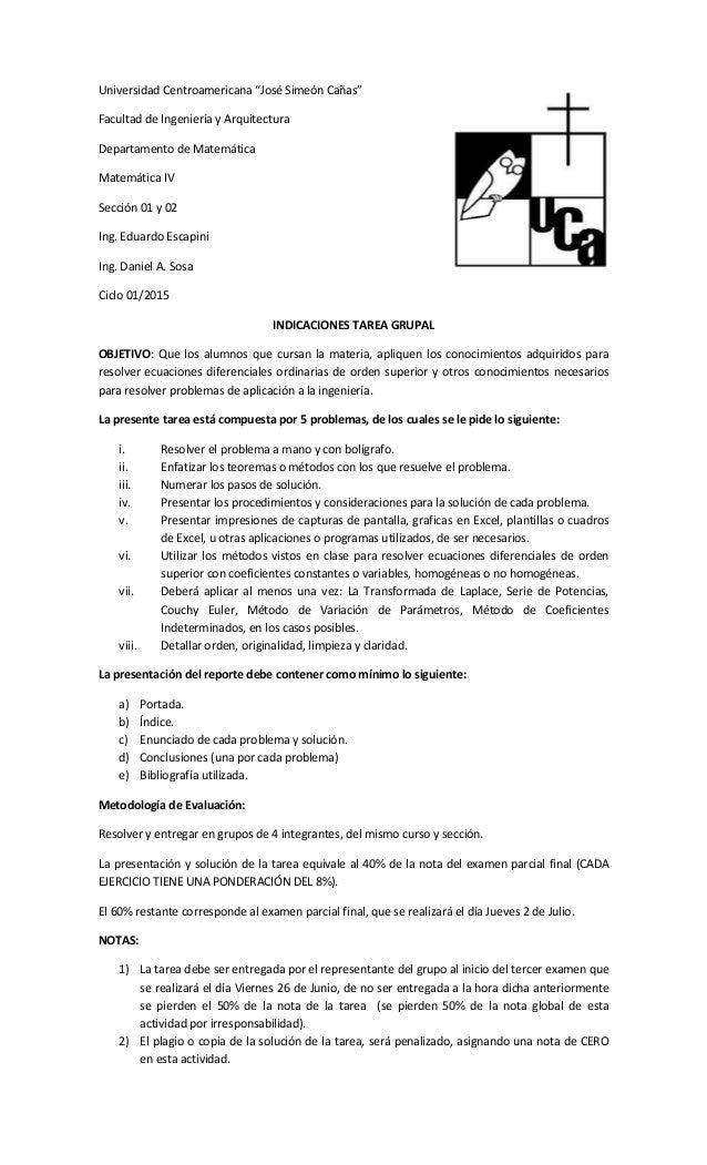 """Universidad Centroamericana """"José Simeón Cañas"""" Facultad de Ingeniería y Arquitectura Departamento de Matemática Matemátic..."""
