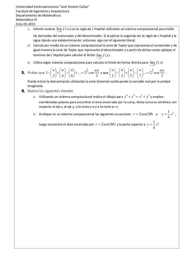 """Universidad Centroamericana """"José Simeón Cañas"""" Facultad de Ingeniería y Arquitectura Departamento de Matemáticas Matemáti..."""