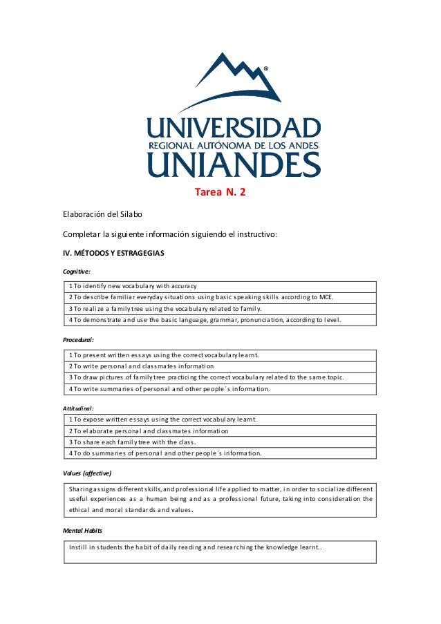 Tarea N. 2 Elaboración del Sílabo Completar la siguiente información siguiendo el instructivo: IV. MÉTODOS Y ESTRAGEGIAS C...