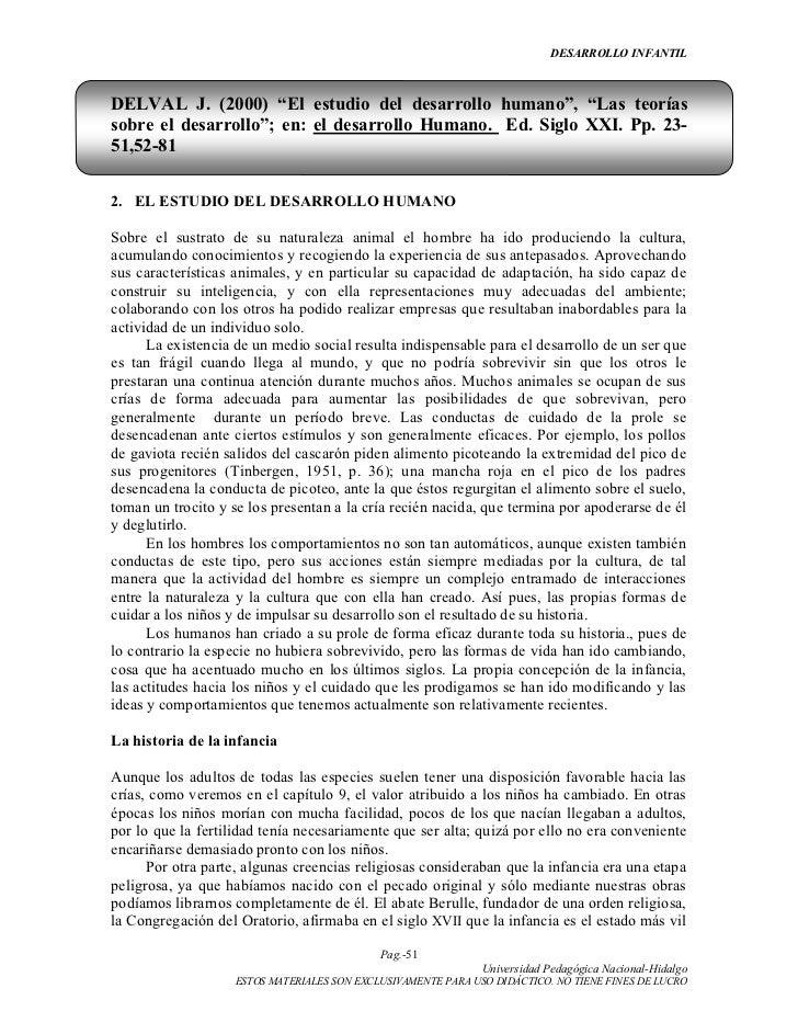 """DESARROLLO INFANTILDELVAL J. (2000) """"El estudio del desarrollo humano"""", """"Las teoríassobre el desarrollo""""; en: el desarroll..."""