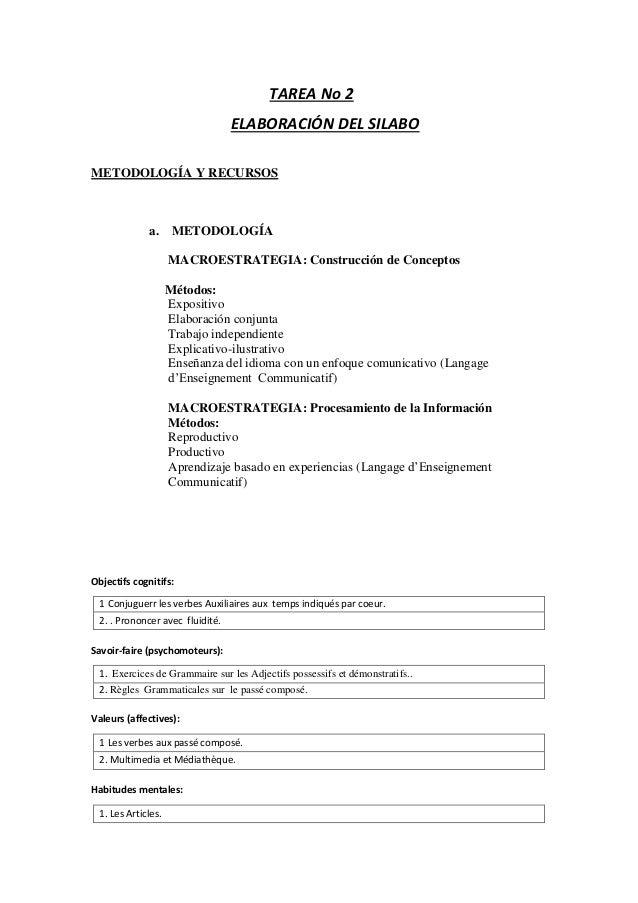TAREA No 2 ELABORACIÓN DEL SILABO METODOLOGÍA Y RECURSOS a. METODOLOGÍA MACROESTRATEGIA: Construcción de Conceptos Métodos...