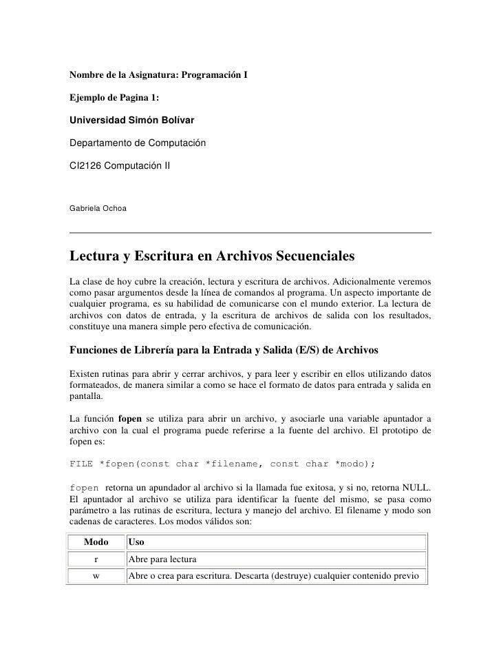 Nombre de la Asignatura: Programación I<br />Ejemplo de Pagina 1:<br />Universidad Simón Bolívar<br />Departamento de Comp...