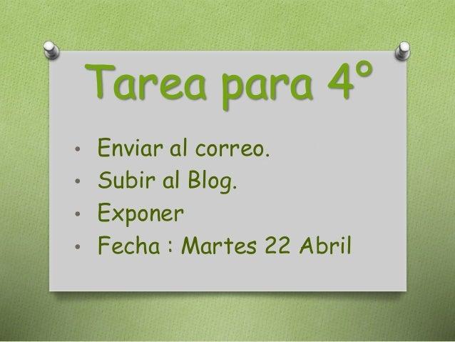 Tarea para 4° • Enviar al correo. • Subir al Blog. • Exponer • Fecha : Martes 22 Abril