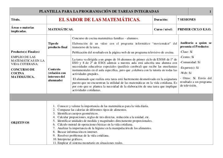 PLANTILLA PARA LA PROGRAMACIÓN DE TAREAS INTEGRADAS                                                                       ...