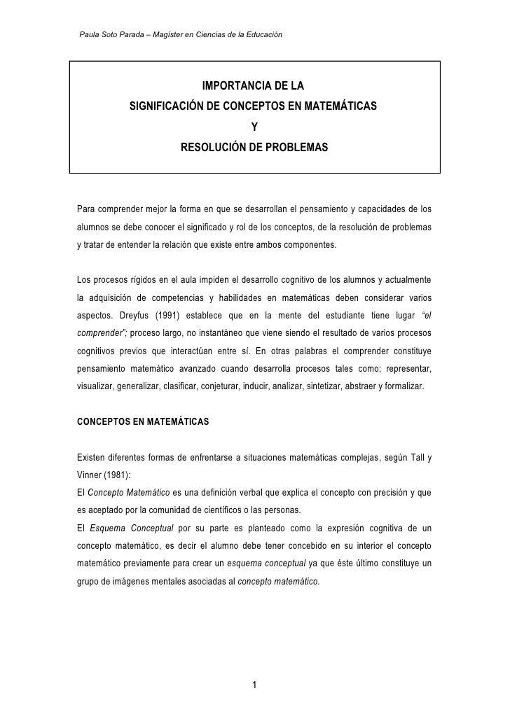Paula Soto Parada – Magíster en Ciencias de la Educación                                    IMPORTANCIA DE LA             ...