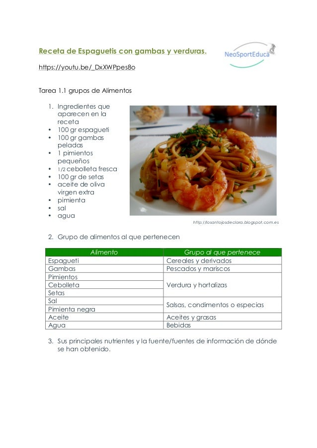 Recetas con ingredientes y nutrientes