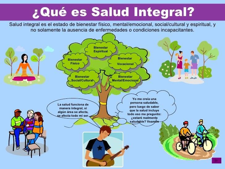 ¿ Qué es Salud Integral? Salud integral es el estado de bienestar físico, mental/emocional, social/cultural y espiritual, ...