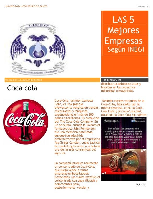 UNIVERSIDAD LICEO PEDRO DE GANTE Número #  LAS 5 Mejores Empresas Según INEGI 2  TRINIDAD OMAR AGUILAR GUTIERREZ  EN ESTE ...